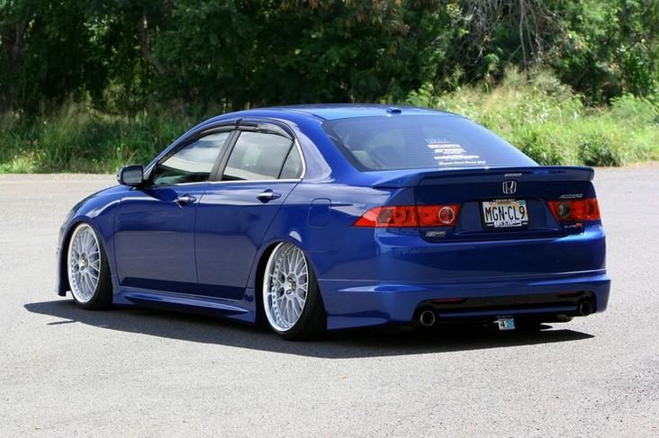 Blue Acura TSX Slammed